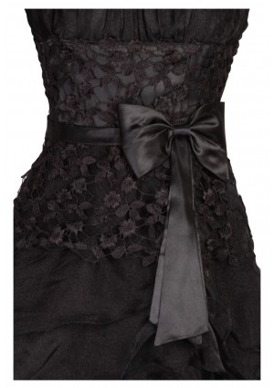 Detailreiches Abendkleid in noblem Schwarz - bei VIP Dress online bestellen