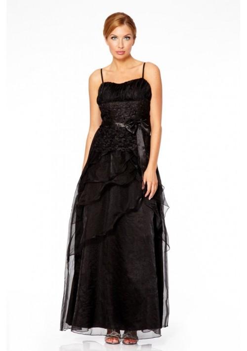 Detailreiches Abendkleid in noblem Schwarz - schnell und günstig bei VIP Dress