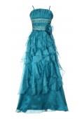 Langes Abendkleid mit Rüschen in Pfauenblau