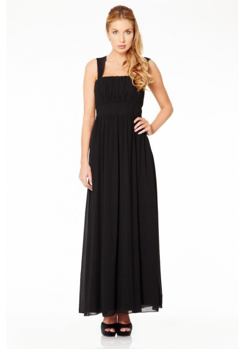 Langes Abendkleid in elegantem Schwarz - bei VIP Dress günstig kaufen