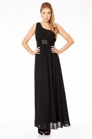 Schwarzes Abendkleid mit glitzerndem Paillettenband