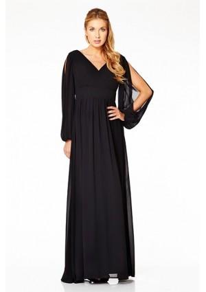 Langärmeliges Abendkleid mit raffiniertem Schnitt in Schwarz - bei VIP Dress günstig kaufen