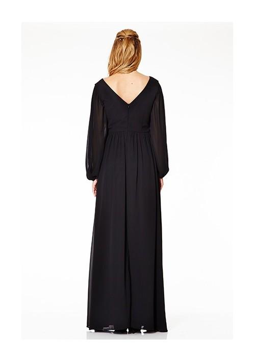 Langärmeliges Abendkleid mit raffiniertem Schnitt in Schwarz - hier günstig online bestellen