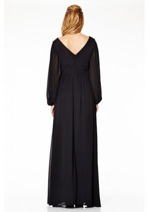 Langärmeliges Abendkleid mit raffiniertem Schnitt in Schwarz - günstig bestellen bei VIP Dress