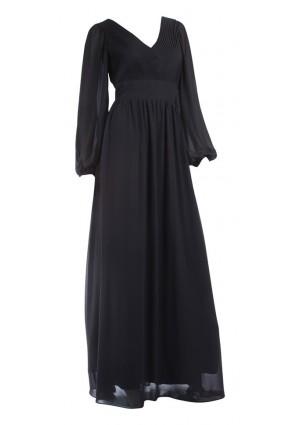 Langärmeliges Abendkleid mit raffiniertem Schnitt in Schwarz - günstig bei VIP Dress