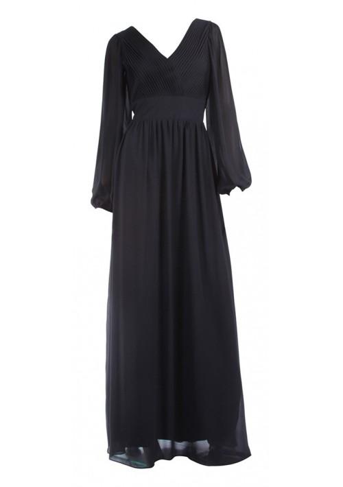 Langärmeliges Abendkleid mit raffiniertem Schnitt in Schwarz - bei VIP Dress online bestellen