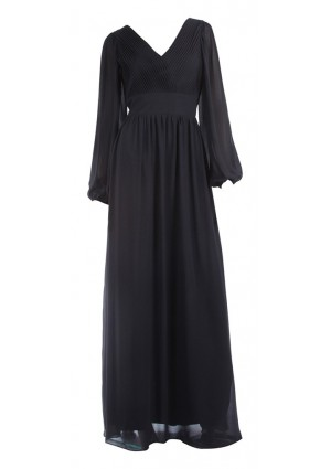 Langärmeliges Abendkleid mit raffiniertem Schnitt in Schwarz -