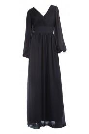 Langärmeliges Abendkleid mit raffiniertem Schnitt in Schwarz