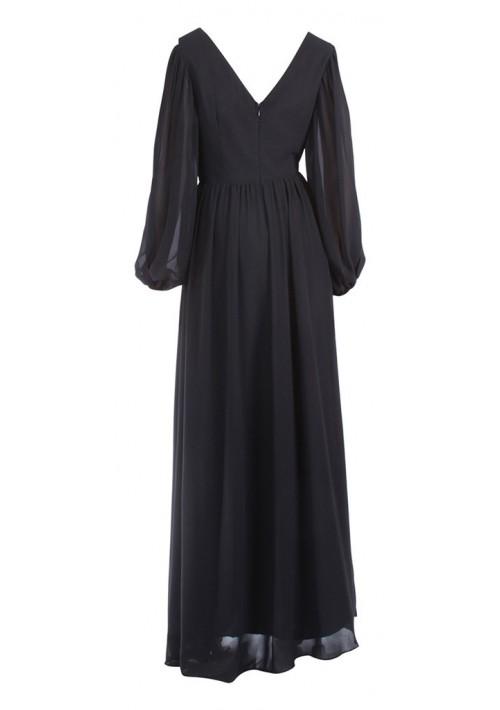 Langärmeliges Abendkleid mit raffiniertem Schnitt in Schwarz - schnell und günstig bei VIP Dress