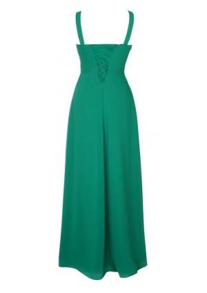 Edles Abendkleid mit Miederschnürung in Dunkelgrün - bei VIP Dress online bestellen