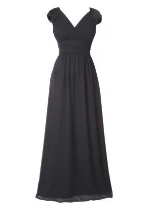 Langes Abendkleid mit Rafffalten in Schwarz -