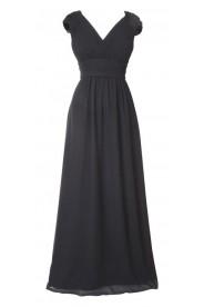 Langes Abendkleid mit Rafffalten in Schwarz