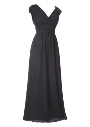 Langes Abendkleid mit Rafffalten in Schwarz - bei VIP Dress günstig kaufen