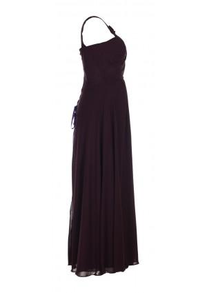 Langes Abendkleid mit Blütenträger in Schwarz - schnell und günstig bei VIP Dress