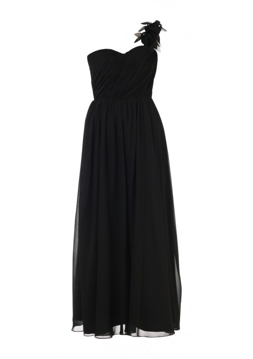 Elegantes Chiffon-Abendkleid in Schwarz mit Blütenträger - online bestellen bei vipdress.de