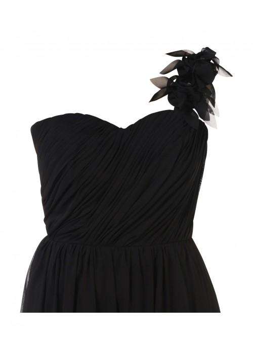 Elegantes Chiffon-Abendkleid in Schwarz mit Blütenträger - hier günstig online bestellen
