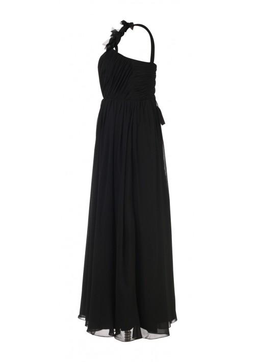 Elegantes Chiffon-Abendkleid in Schwarz mit Blütenträger - bei VIP Dress günstig kaufen