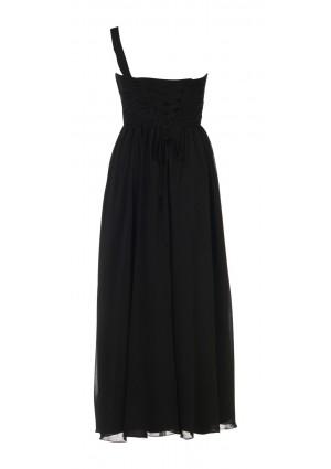 Elegantes Chiffon-Abendkleid in Schwarz mit Blütenträger - günstig bestellen bei VIP Dress