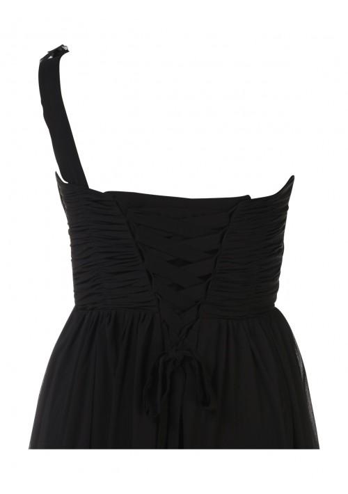 Elegantes Chiffon-Abendkleid in Schwarz mit Blütenträger - schnell und günstig bei VIP Dress