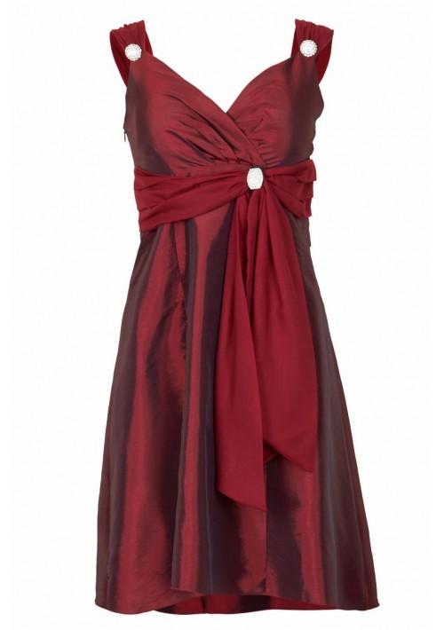 Cocktailkleid in elegantem Rot mit Strass-Broschen  - günstig bei VIP Dress