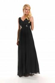 Abendkleid in Schwarz mit breitem Paillettenband