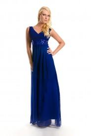 Chiffon-Abendkleid in Blau mit Paillettenband