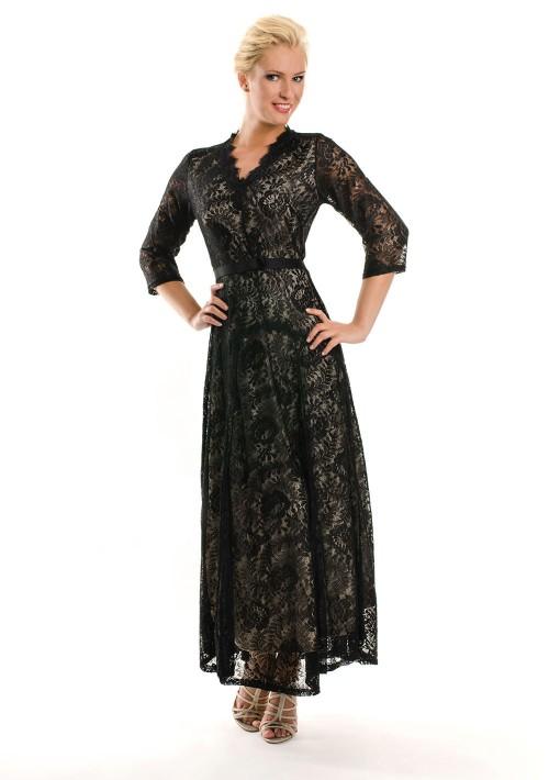 Abendkleid in Schwarz aus Spitze mit 3/4-Arm - günstig kaufen bei vipdress.de