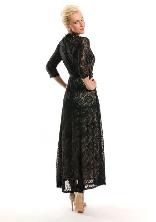 Abendkleid in Schwarz aus Spitze mit 3/4-Arm - günstig shoppen bei vipdress.de