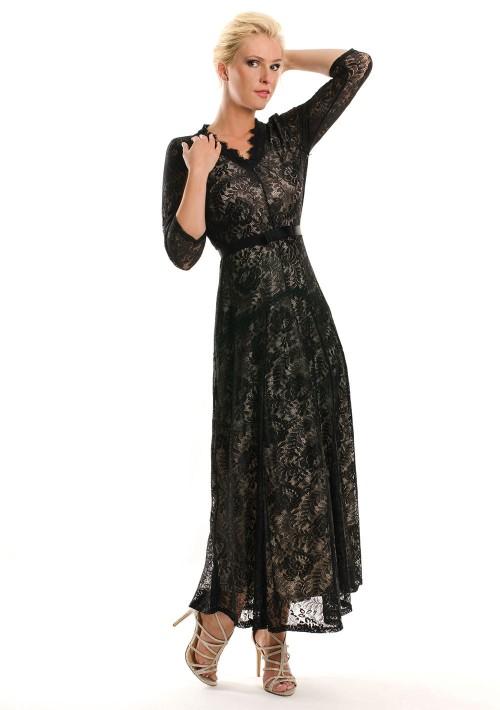 Abendkleid in Schwarz aus Spitze mit 3/4-Arm - bei VIP Dress günstig kaufen