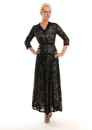 Abendkleid in Schwarz aus Spitze mit 3/4-Arm - günstig bei VIP Dress