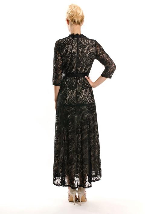 Abendkleid in Schwarz aus Spitze mit 3/4-Arm - schnell und günstig bei VIP Dress