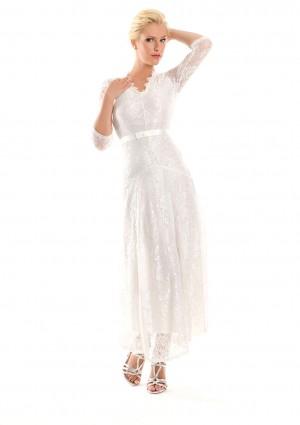 Weißes Abendkleid mit 3/4-Arm aus Spitze - online bestellen bei vipdress.de