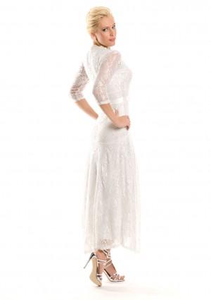 Weißes Abendkleid mit 3/4-Arm aus Spitze - hier günstig online bestellen