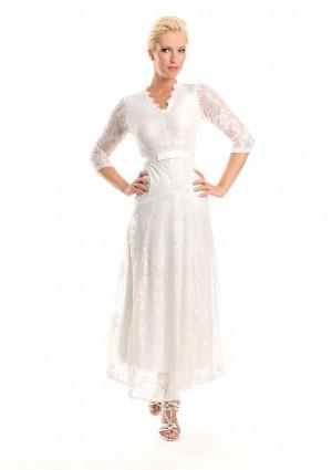 Weißes Abendkleid mit 3/4-Arm aus Spitze - günstig shoppen bei vipdress.de