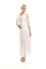Weißes Abendkleid mit 3/4-Arm aus Spitze
