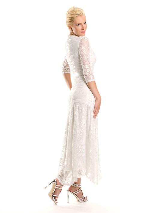 Weißes Abendkleid mit 3/4-Arm aus Spitze - bei vipdress.de günstig shoppen