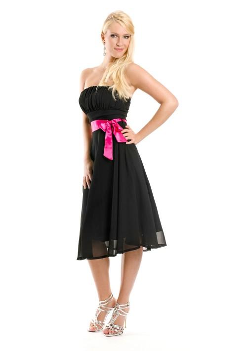 Schwarzes Cocktailkleid mit aparter Schleife  - günstig bei VIP Dress