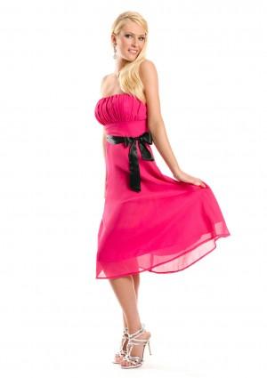 Cocktailkleid in Pink im Bandeau-Stil mit Schleife - bei VIP Dress günstig kaufen