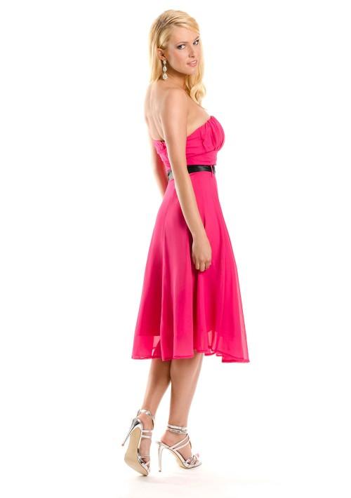 Cocktailkleid in Pink im Bandeau-Stil mit Schleife - schnell und günstig bei VIP Dress