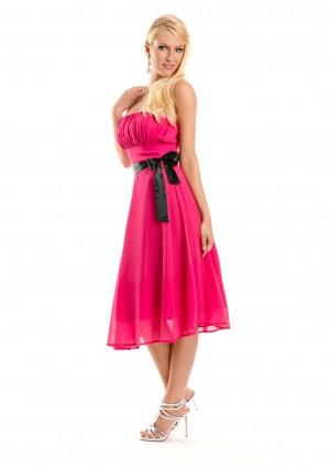 Cocktailkleid in Pink im Bandeau-Stil mit Schleife - hier günstig online bestellen