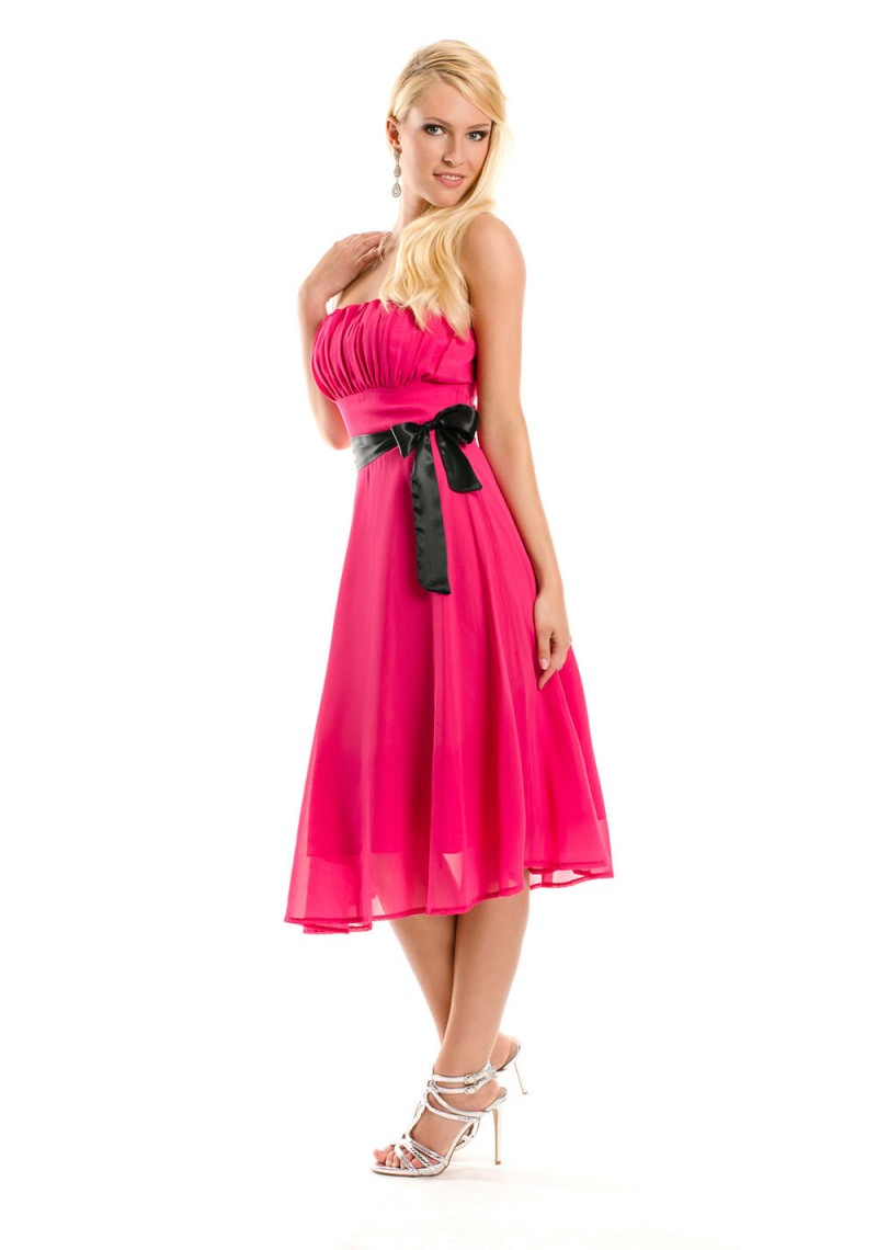 schulterfreies bandeau kleid in pink g nstig online bestellen. Black Bedroom Furniture Sets. Home Design Ideas