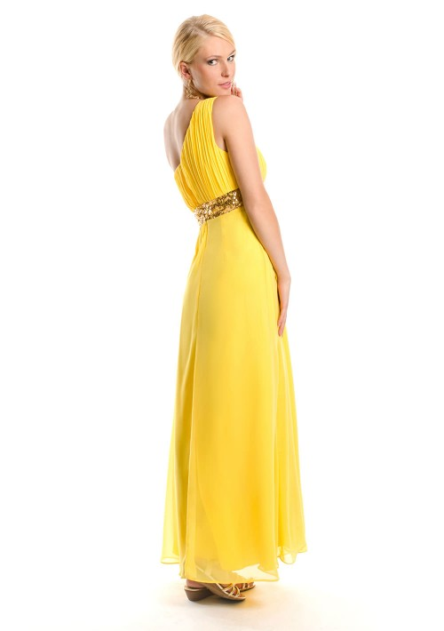 One-Shoulder Abendkleid in Gelb aus Chiffon  - online bestellen bei vipdress.de