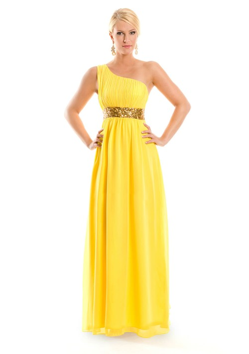 One-Shoulder Abendkleid in Gelb aus Chiffon  - bei vipdress.de günstig shoppen