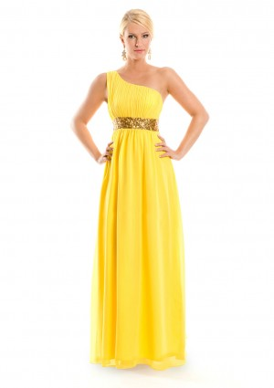 One-Shoulder Abendkleid in Gelb aus Chiffon  - günstig bei VIP Dress