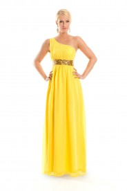 One-Shoulder Abendkleid in Gelb aus Chiffon