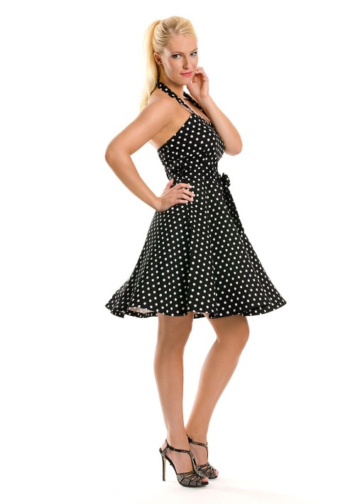 Rockabilly Polka-Dot-Kleid in Schwarz - günstig bestellen bei VIP Dress