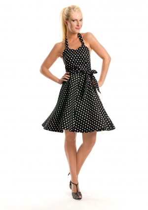 Rockabilly Polka-Dot-Kleid in Schwarz - bei VIP Dress online bestellen