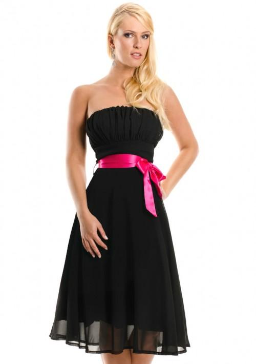 Schwarzes Cocktailkleid mit aparter Schleife  - schnell und günstig bei VIP Dress
