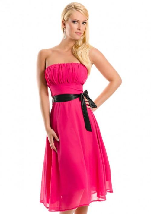 Cocktailkleid in Pink im Bandeau-Stil mit Schleife - online bestellen bei vipdress.de