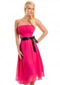 Cocktailkleid in Pink im Bandeau-Stil mit Schleife